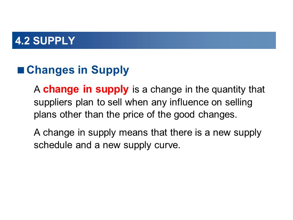 Changes in Supply 4.2 SUPPLY