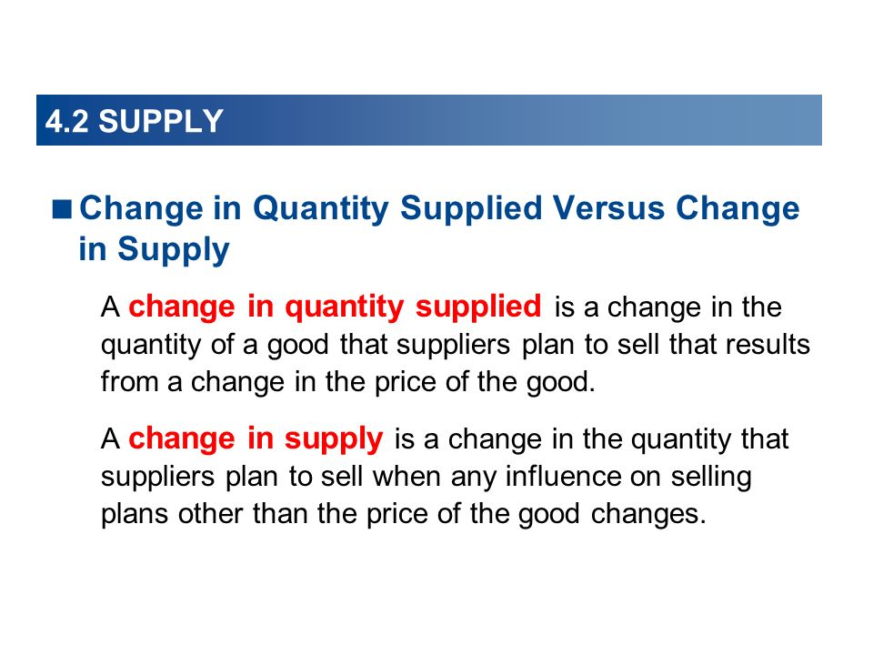 Change in Quantity Supplied Versus Change in Supply
