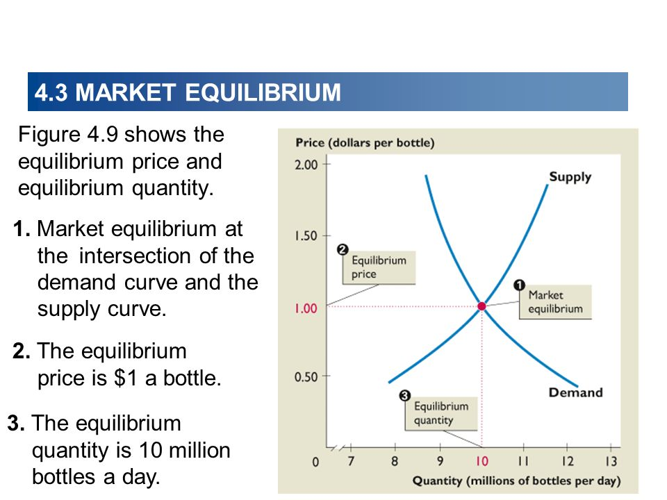 4.3 MARKET EQUILIBRIUM Figure 4.9 shows the equilibrium price and