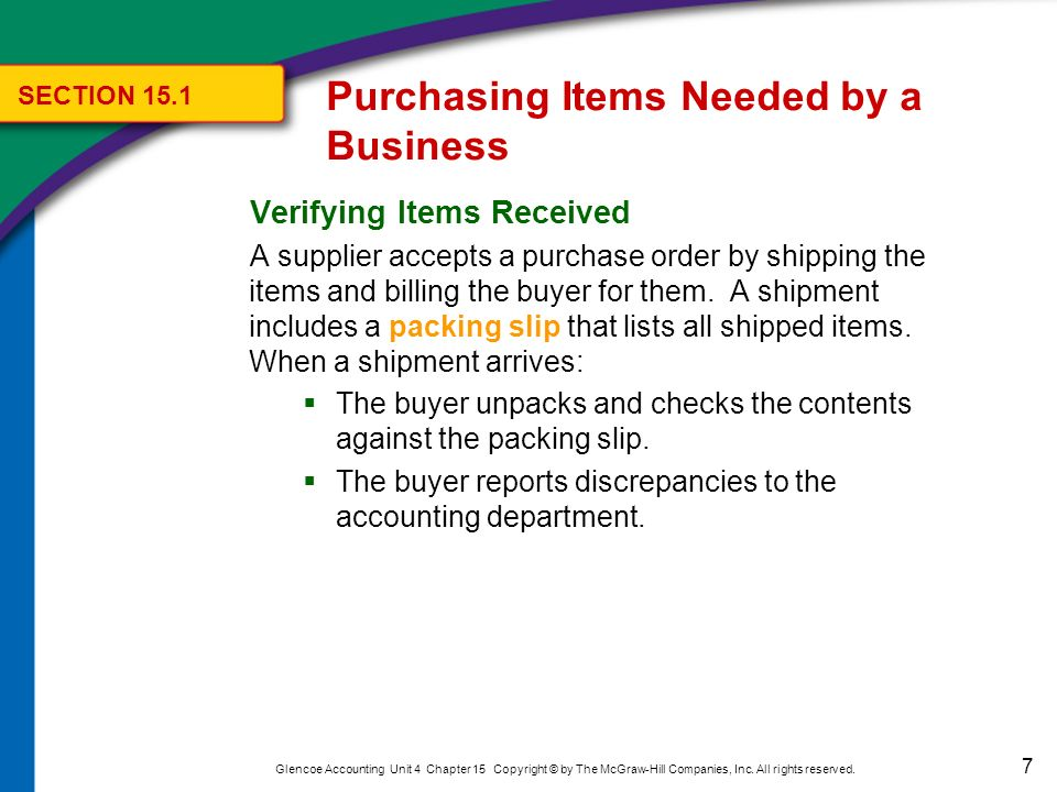Purchasing Items Needed by a Business