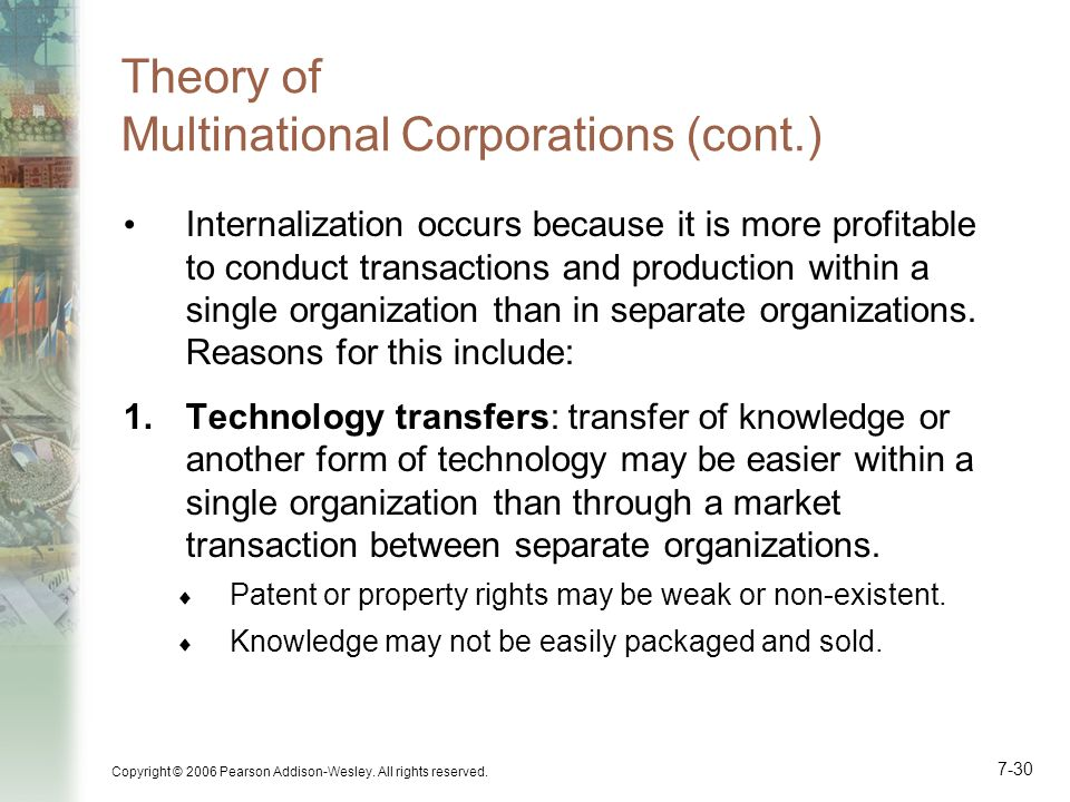 Theory of Multinational Corporations (cont.)