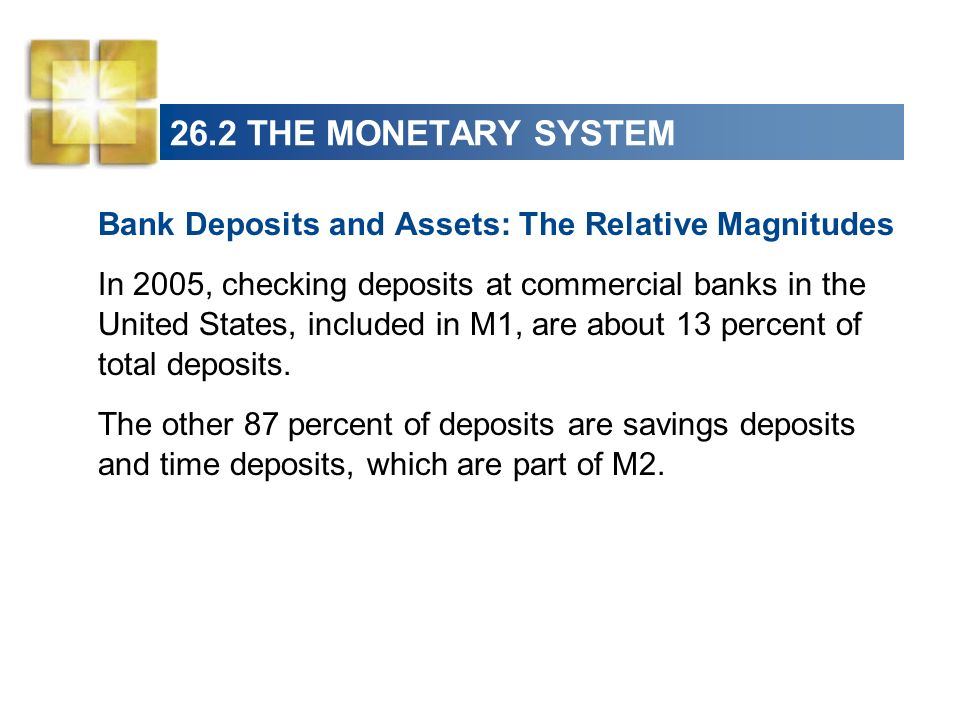 26.2 THE MONETARY SYSTEM Bank Deposits and Assets: The Relative Magnitudes.