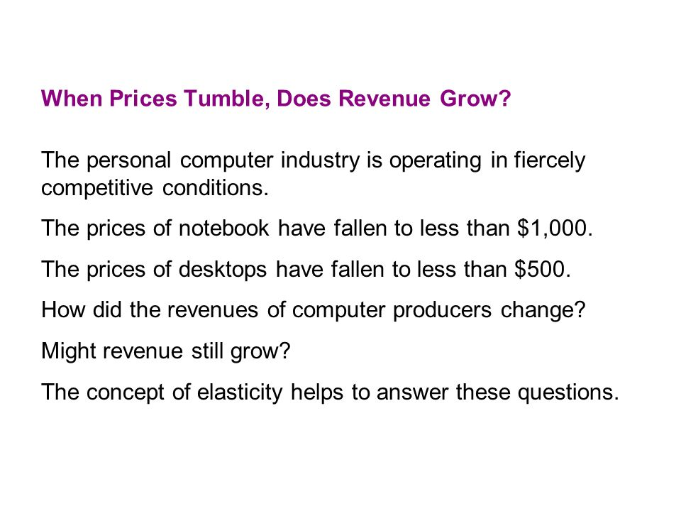 When Prices Tumble, Does Revenue Grow