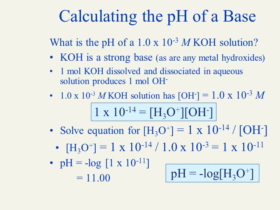 how to find ph of a base given molarity