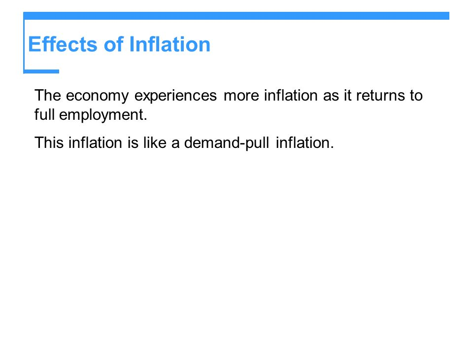 Effects of Inflation The economy experiences more inflation as it returns to full employment.