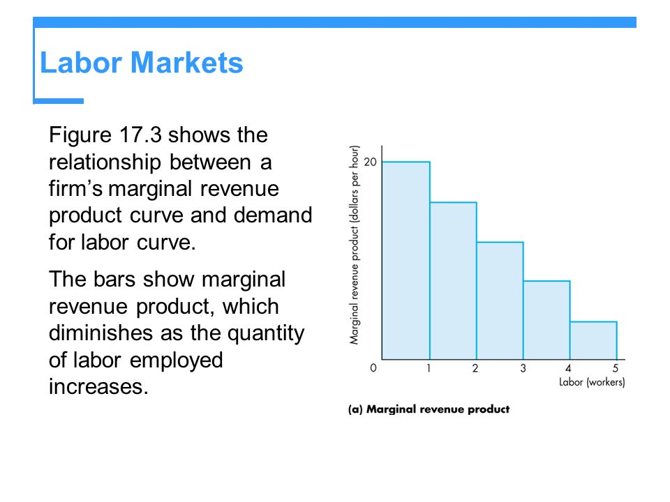 Labor Markets Figure 17.3 shows the relationship between a firm's marginal revenue product curve and demand for labor curve.