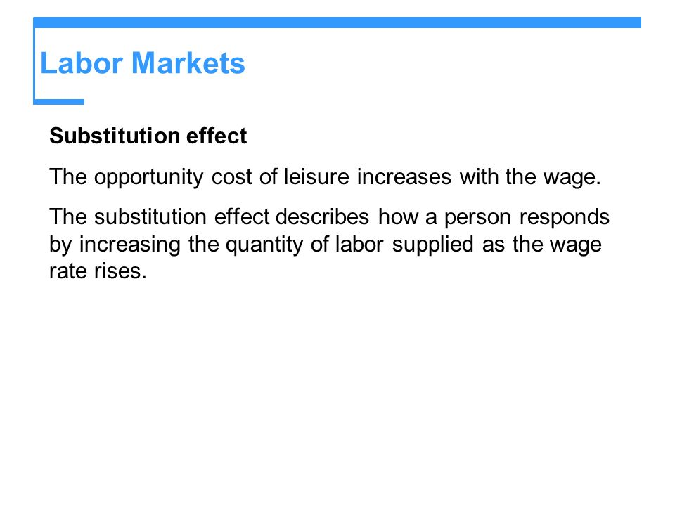 Labor Markets Substitution effect
