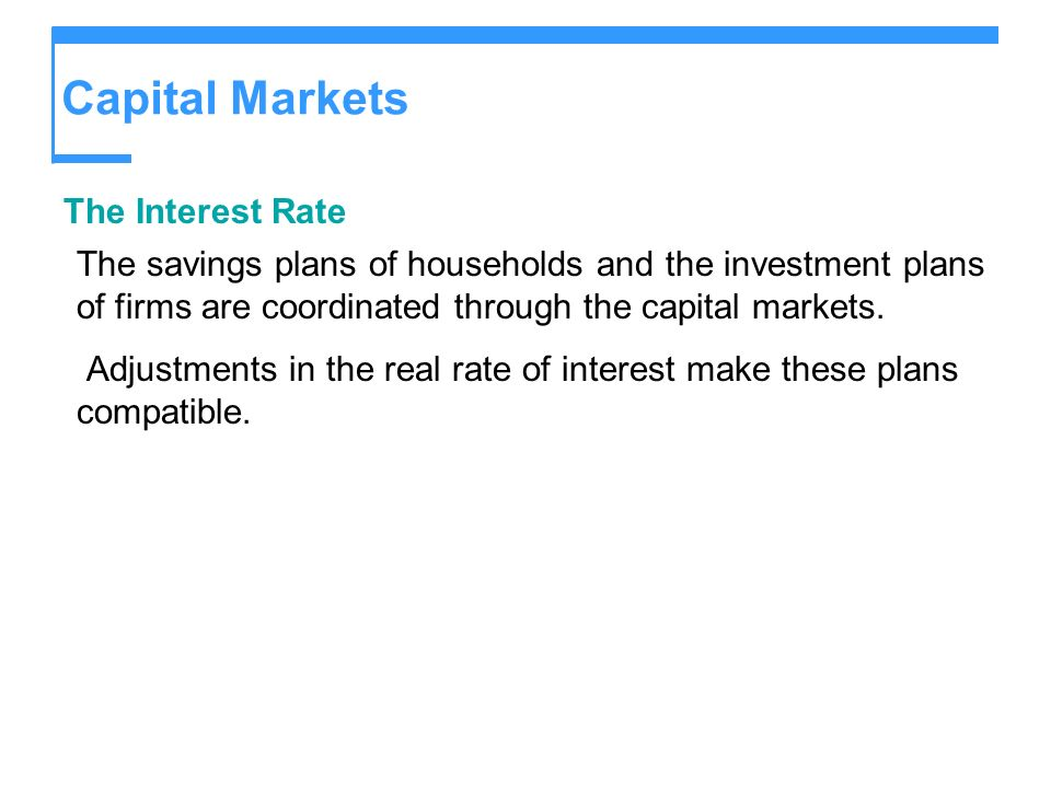 Capital Markets The Interest Rate