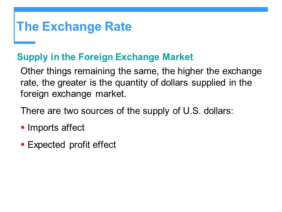 The Exchange Rate Supply in the Foreign Exchange Market
