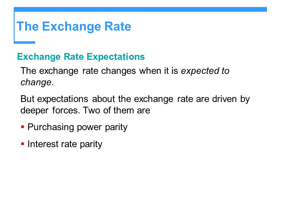 The Exchange Rate Exchange Rate Expectations