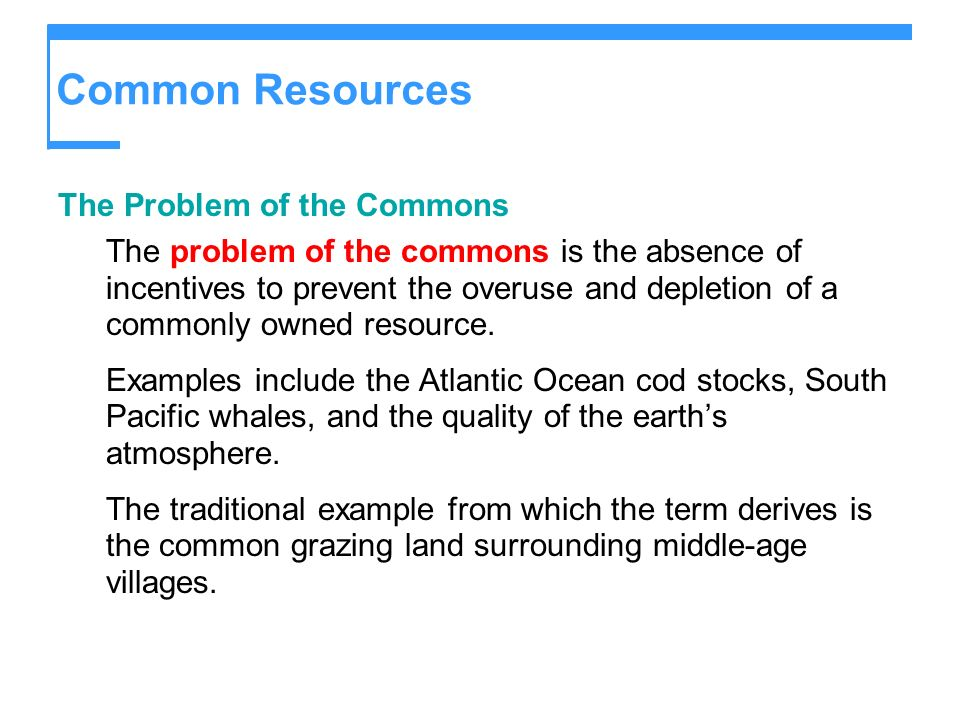 Common Resources The Problem of the Commons