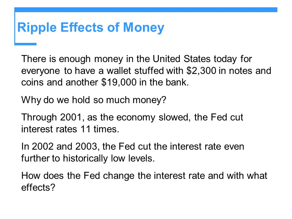 Ripple Effects of Money