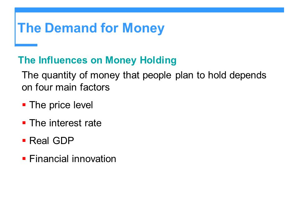The Demand for Money The Influences on Money Holding