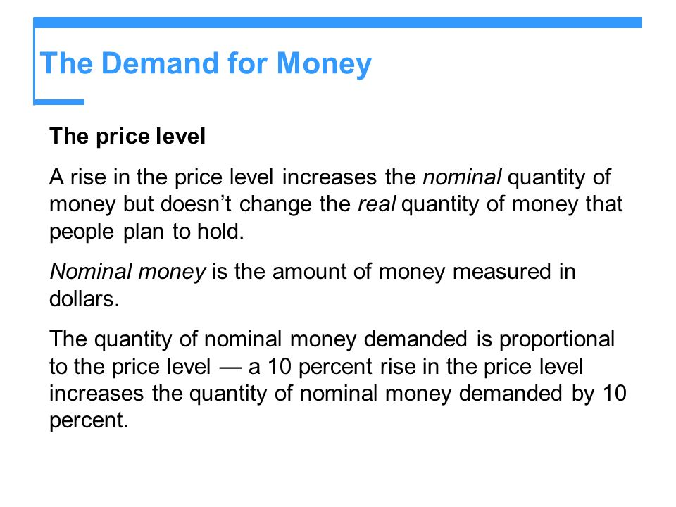 The Demand for Money The price level