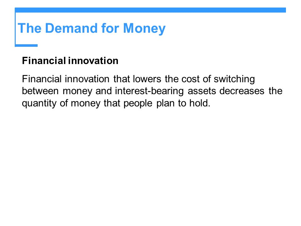 The Demand for Money Financial innovation