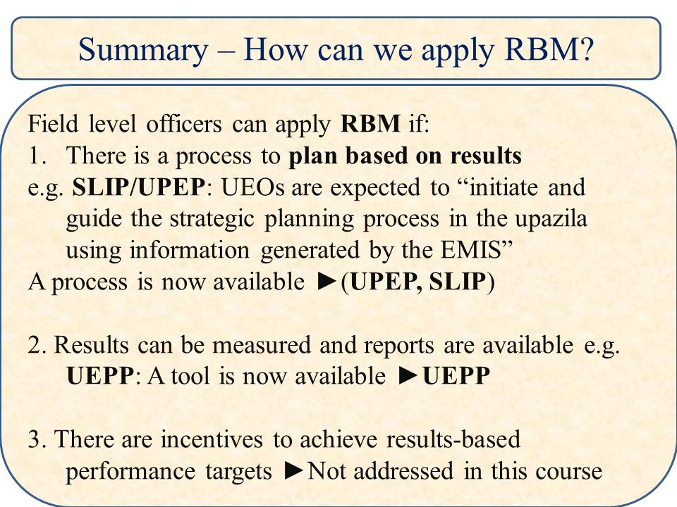 Summary – How can we apply RBM