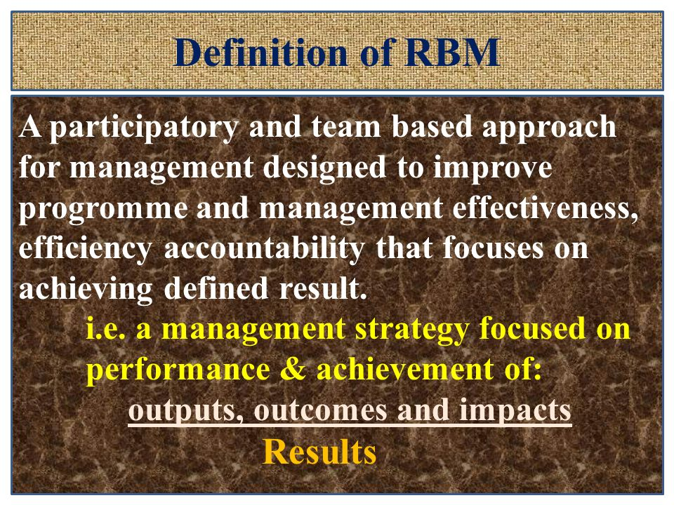 Definition of RBM Results
