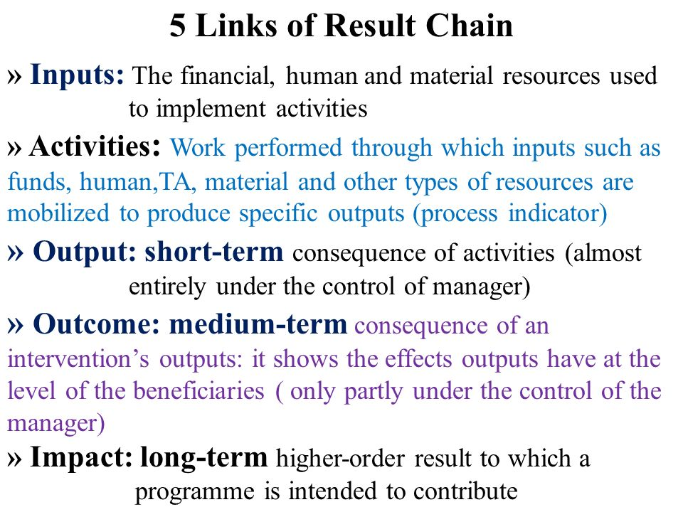 5 Links of Result Chain » Inputs: The financial, human and material resources used to implement activities.