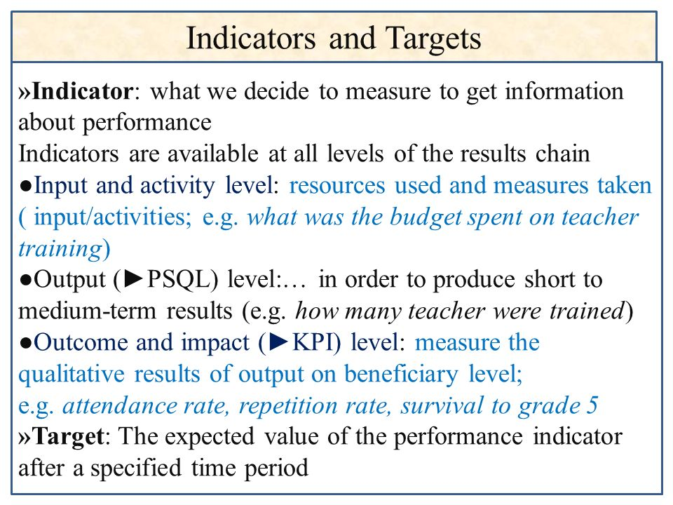 Indicators and Targets