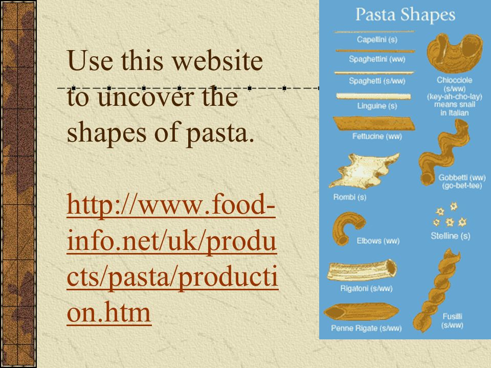 Use this website to uncover the shapes of pasta.