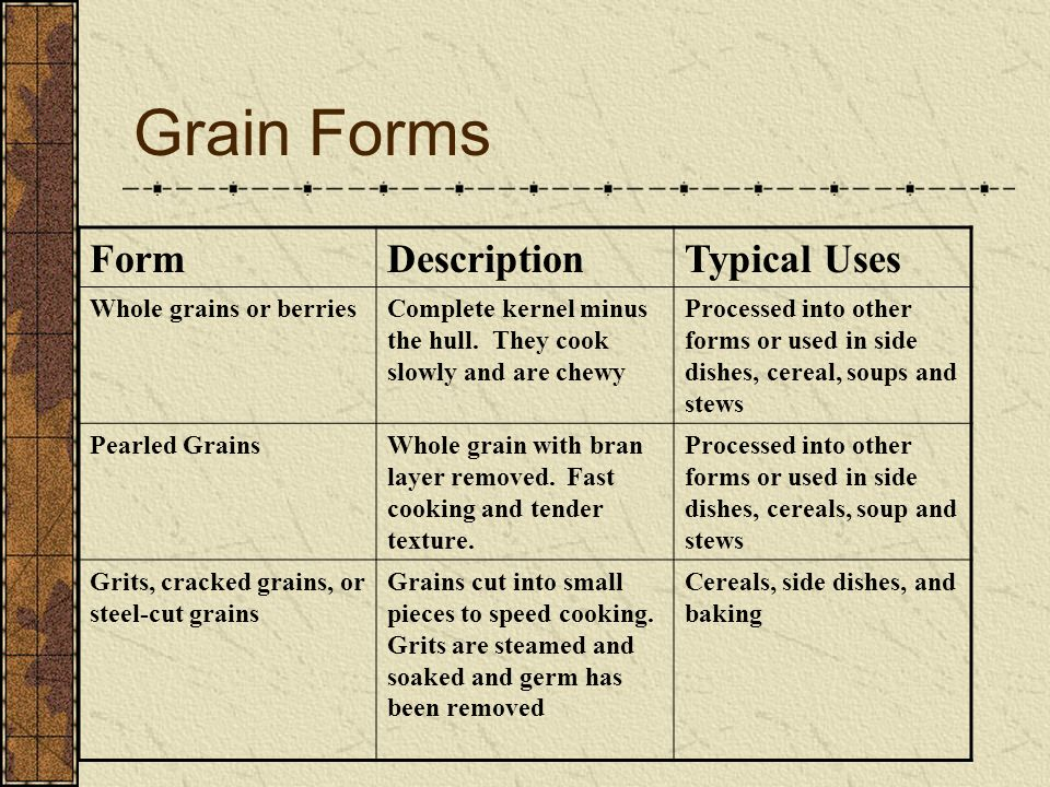 Grain Forms Form Description Typical Uses Whole grains or berries