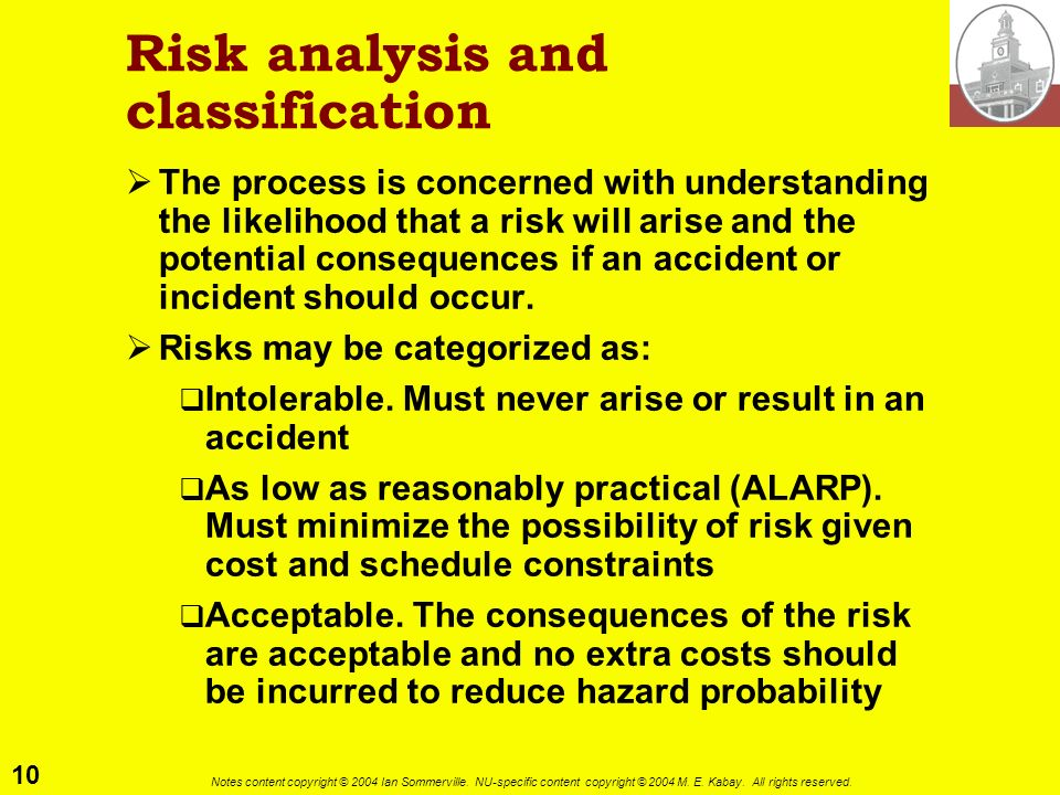 Risk analysis and classification