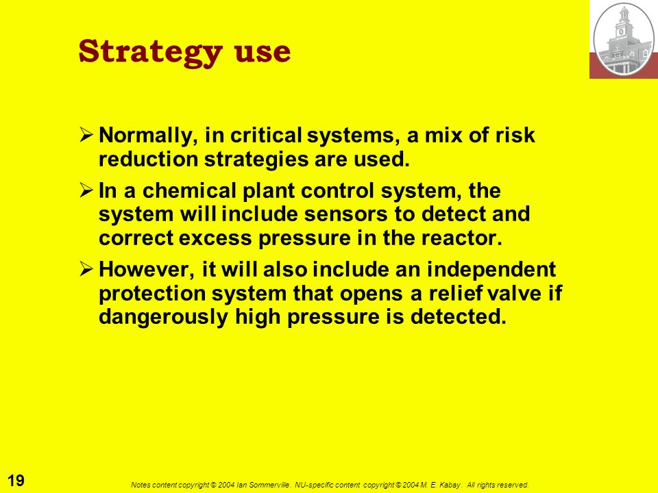 Strategy use Normally, in critical systems, a mix of risk reduction strategies are used.