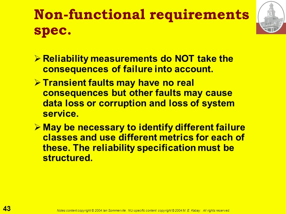 Non-functional requirements spec.