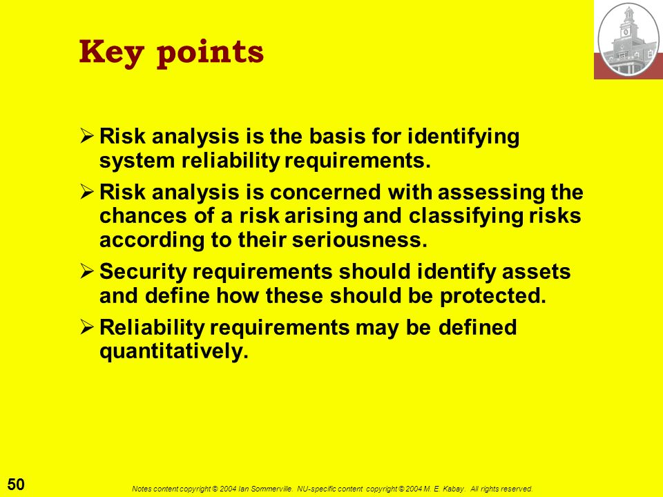Key points Risk analysis is the basis for identifying system reliability requirements.