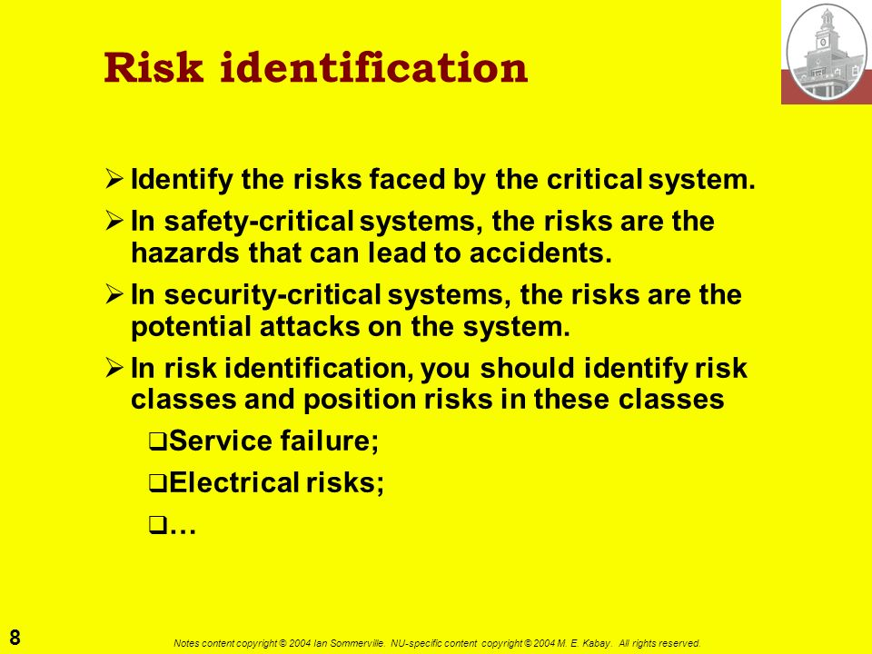 Risk identification Identify the risks faced by the critical system.
