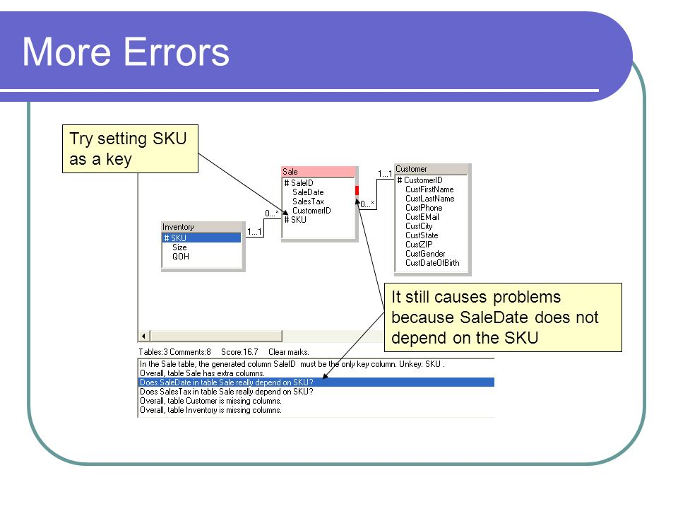 More Errors Try setting SKU as a key