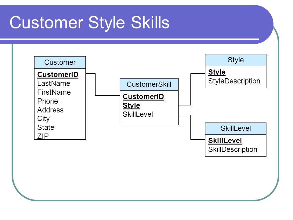 Customer Style Skills Style Customer Style StyleDescription CustomerID
