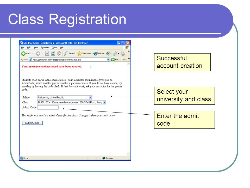Class Registration Successful account creation