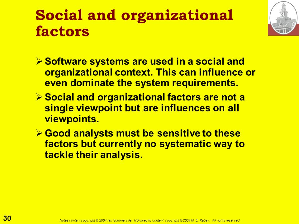Social and organizational factors