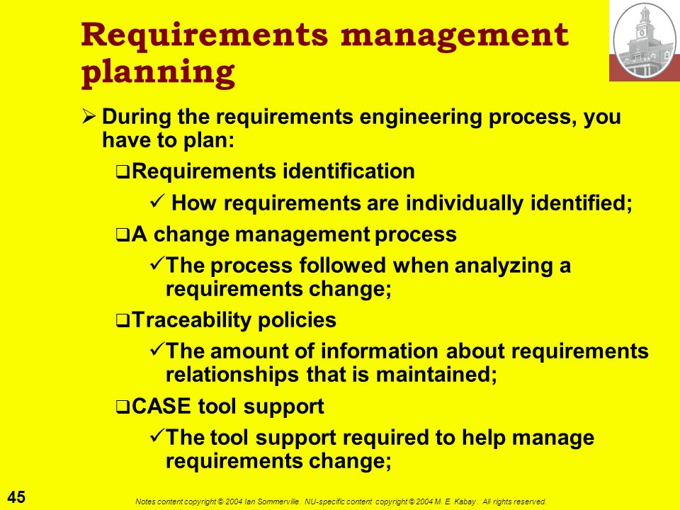 Requirements management planning