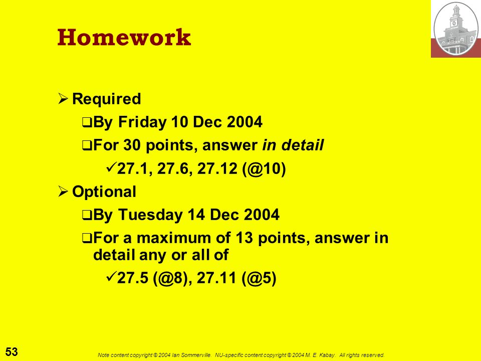 Homework Required By Friday 10 Dec 2004