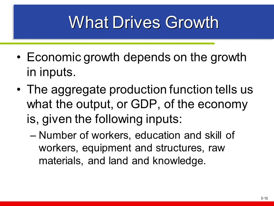 What Drives Growth Economic growth depends on the growth in inputs.