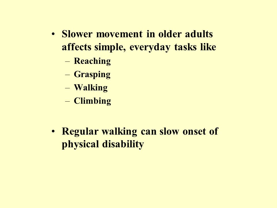 Slower movement in older adults affects simple, everyday tasks like