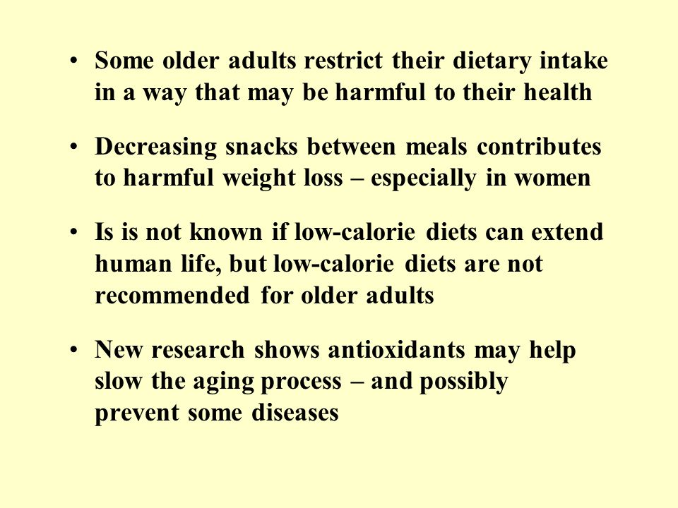 Some older adults restrict their dietary intake in a way that may be harmful to their health