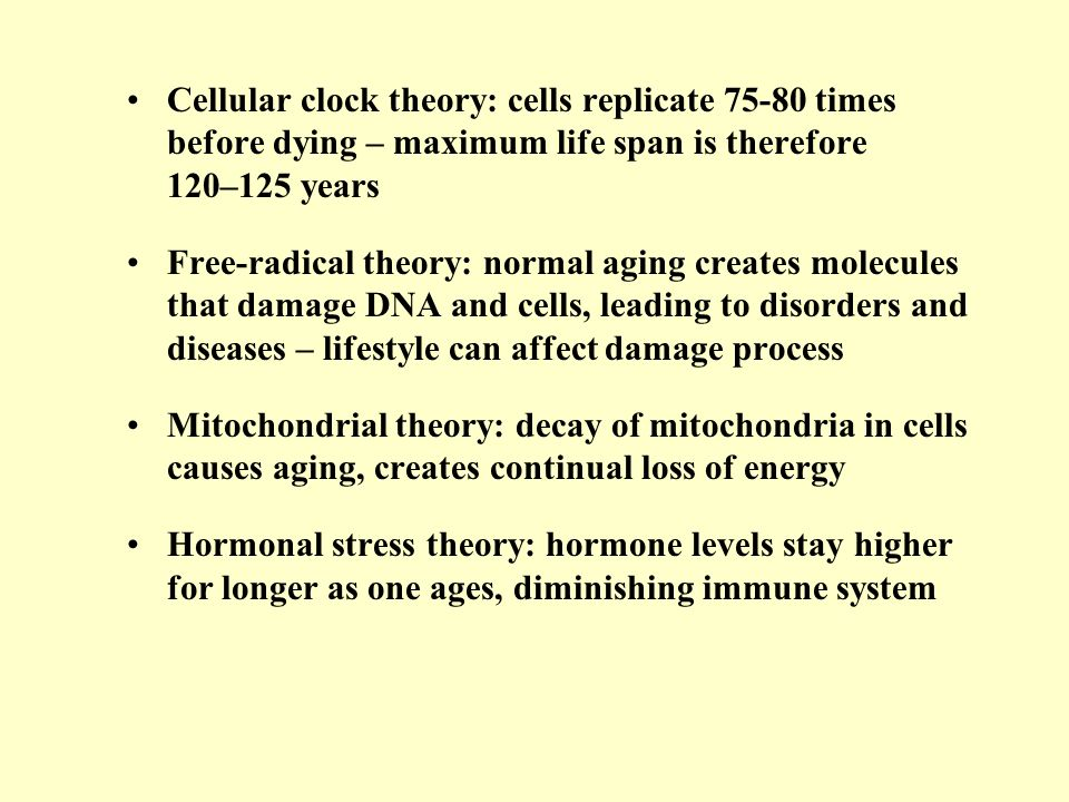 Cellular clock theory: cells replicate 75-80 times before dying – maximum life span is therefore 120–125 years