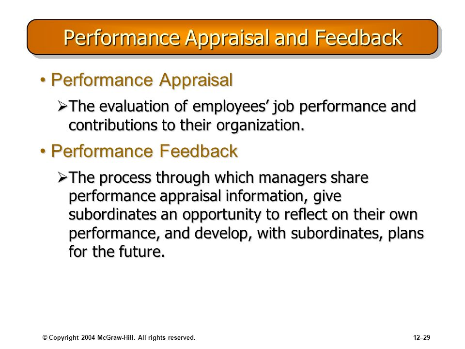 Performance Appraisal and Feedback