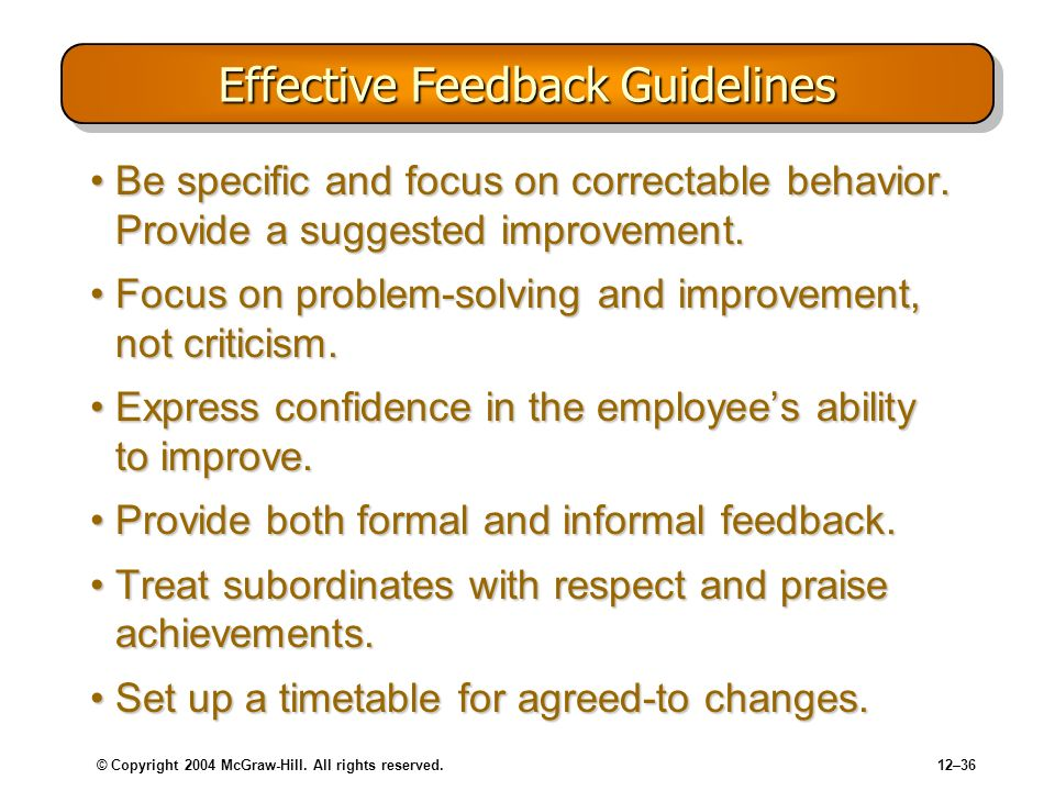 Effective Feedback Guidelines