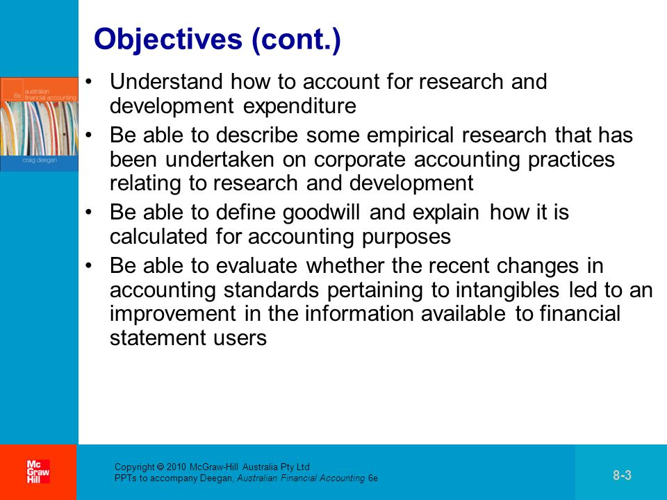 Objectives (cont.) Understand how to account for research and development expenditure.