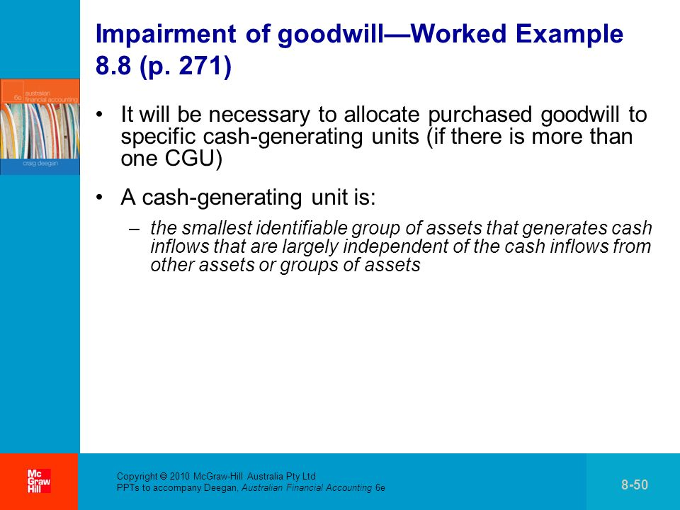 Impairment of goodwill—Worked Example 8.8 (p. 271)