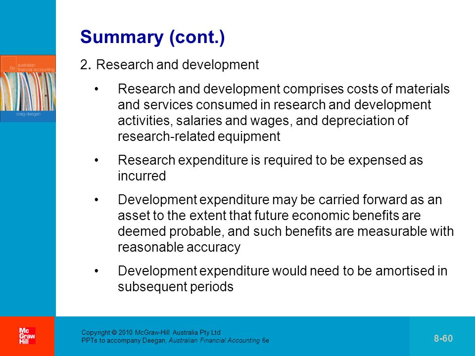 Summary (cont.) 2. Research and development