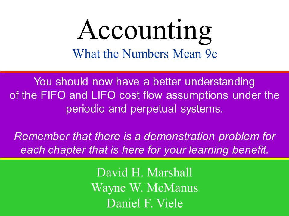 Accounting What the Numbers Mean 9e David H. Marshall Wayne W. McManus