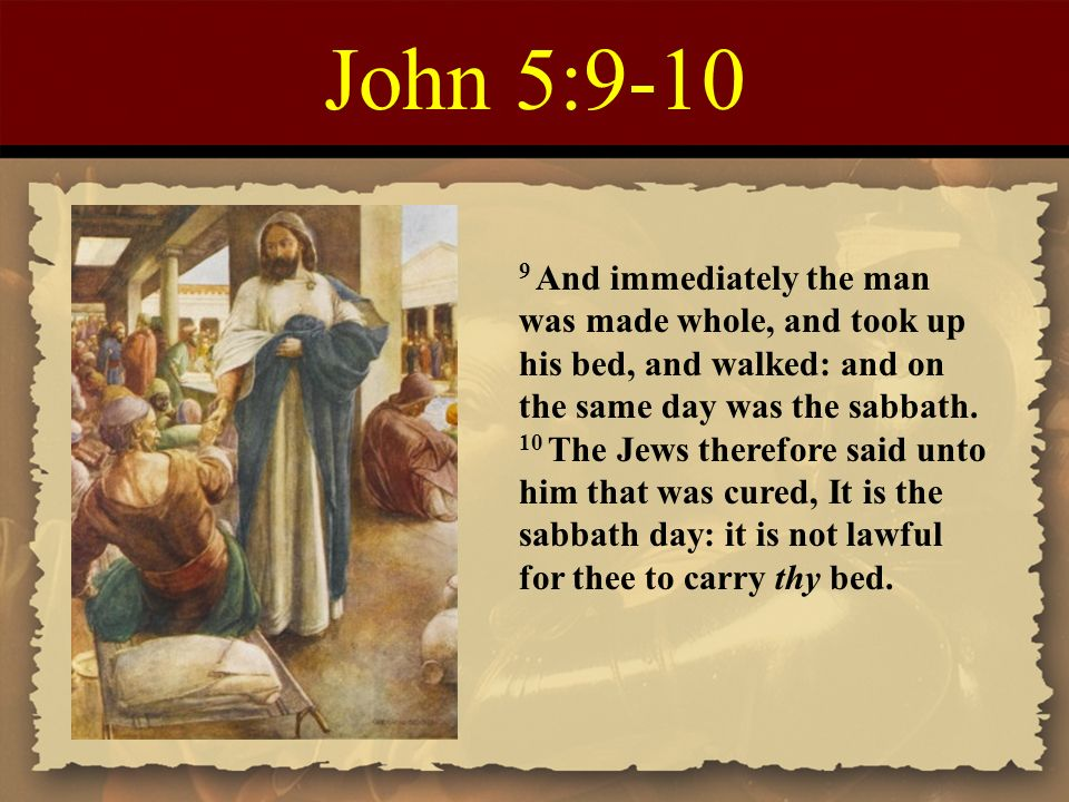 Image result for it is not lawful for thee to carry thy bed on the sabbath