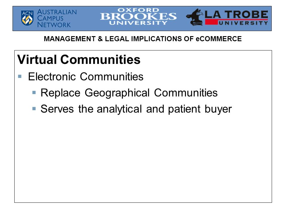Virtual Communities Electronic Communities