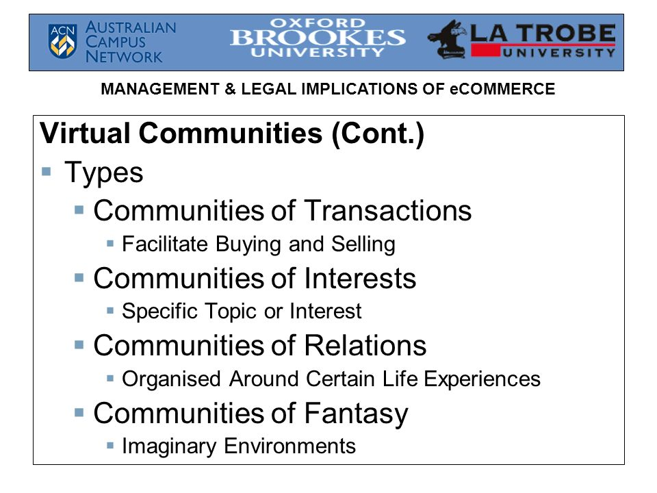 Virtual Communities (Cont.) Types Communities of Transactions