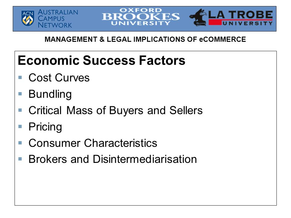 Economic Success Factors